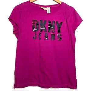 DKNY Jeans Pink Graphic Logo Crewneck Tee